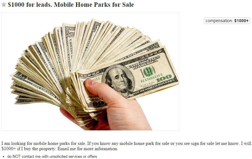 I Got 20 Emails By This Morning From People Who Know A Park For Sale Owner And Some Just Curious How They Can Help